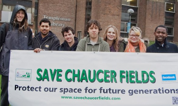 UKC students promoting the protection of Chaucer Fields, 24 November 2012